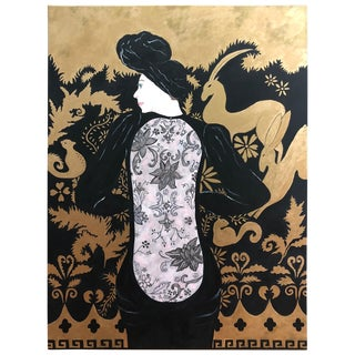 Glamorous Black and Gold Large Painting of Woman in Lacey Dress For Sale