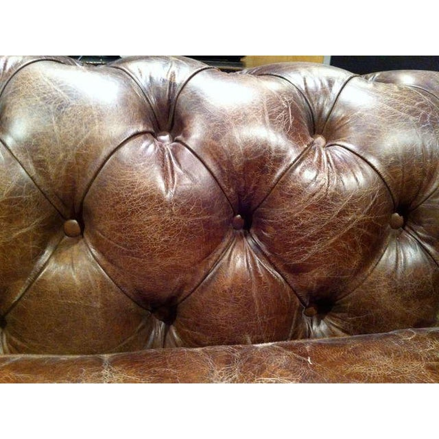 Pair of Monumental Distressed Leather Chesterfield Sofas For Sale - Image 4 of 7