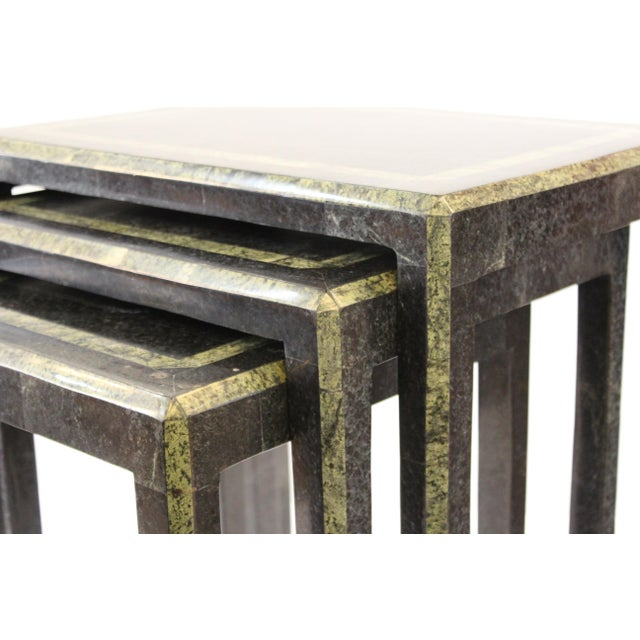 Maitland-Smith Modern Nesting Tables in Tessellated Stone - Set of 3 For Sale - Image 9 of 13