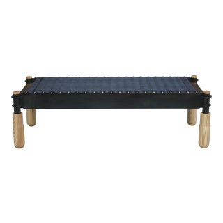 Basso Ash, Leather and Steel Bench by Laylo Studio For Sale
