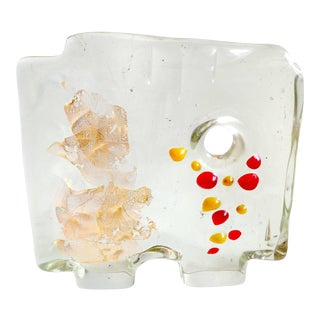 Salviati Murano Italian Gold Leaf Yellow Red Dots Abstract Art Glass Mid Century Sculpture For Sale