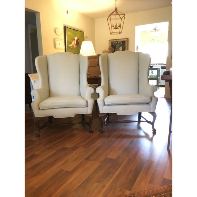 Antique Queen Anne Style Wingback Chairs - A Pair For Sale - Image 11 of 11