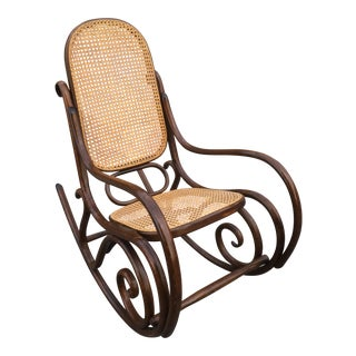Vintage Thonet Bent Wood & Cane Rocking Chair