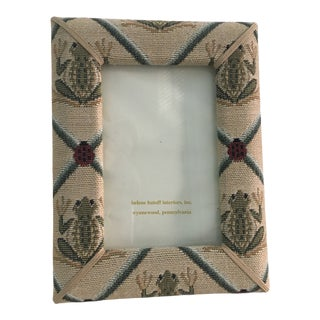 Frog and Ladybug Needlepoint Tapestry Upholstered Picture Frame For Sale