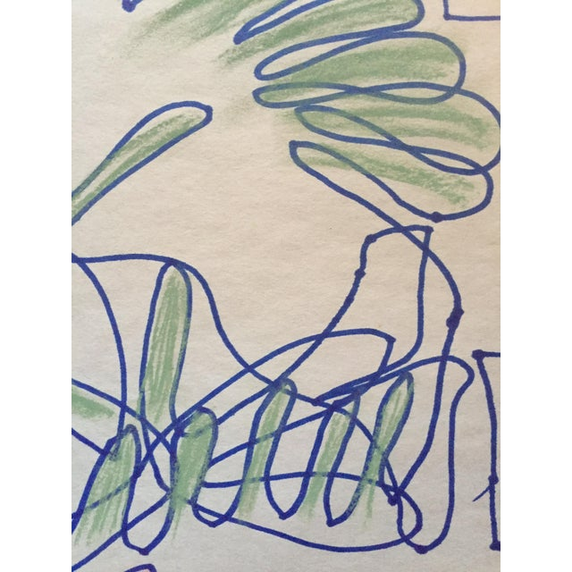 1950s 1950s San Francisco Abstract Expressionism Ink and Pastel Contour Drawing For Sale - Image 5 of 7