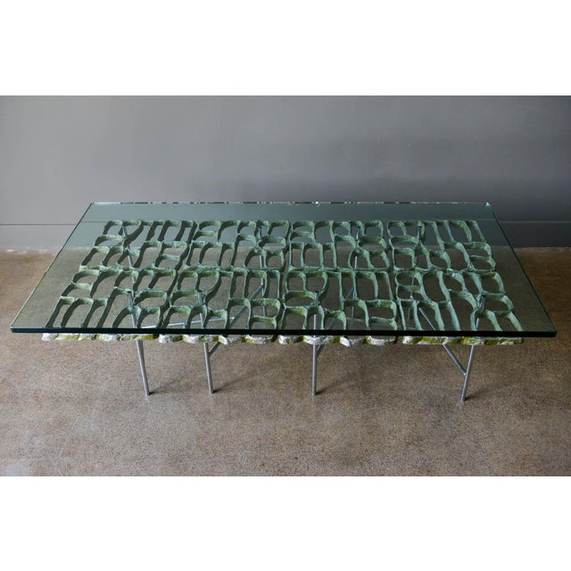 """Sculptural Brutalist coffee table by Artist Donald Drumm, circa 1970. Brutalist design with new floating top 3/4"""" thick..."""