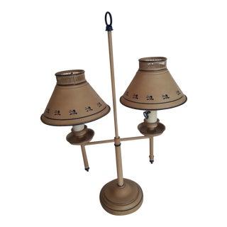 Vintage 1970s Double Arm Beige Toleware Bouillotte Table Lamp For Sale