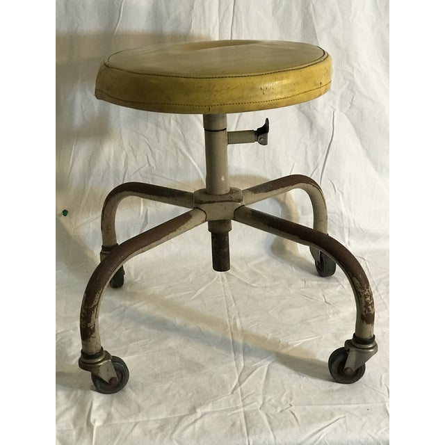 Vintage Industrial Casters Low Stool with Yellow Vinyl - Image 2 of 10
