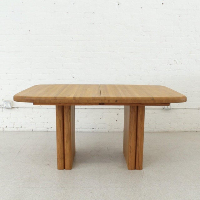 Mid-Century Modern Solid Oak Boho Restored Dining Table For Sale - Image 3 of 8