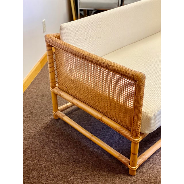 Mid-Century Modern 1960s Bamboo and Rattan Reupholstered Daybed For Sale - Image 3 of 12