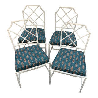 Vintage White Metal Bamboo Chairs- - Set of 4 For Sale