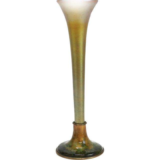 1900 Antique Louis C. Tiffany Favrile Furnaces Trumpet Vase on Bronze Enamel Base - Image 2 of 5