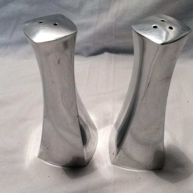 1960s Mid-Century Pair of Early 1960's Rare Metal Lenox S & P Shakers For Sale - Image 5 of 11