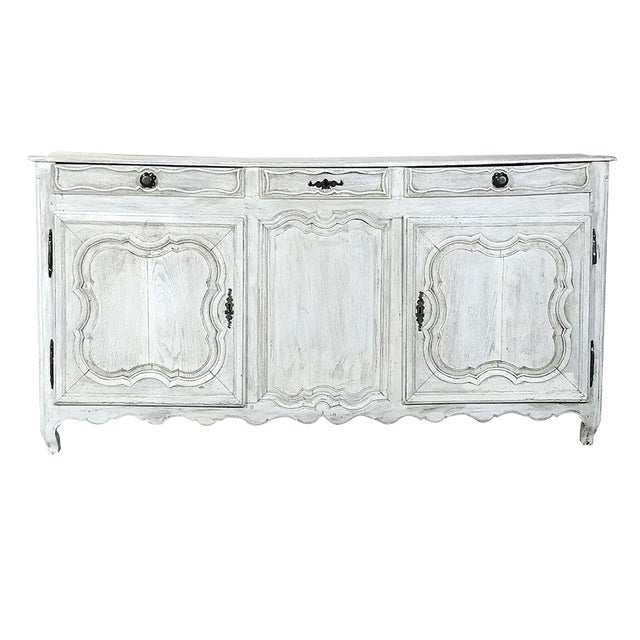 18th Century Country French Whitewashed Buffet For Sale