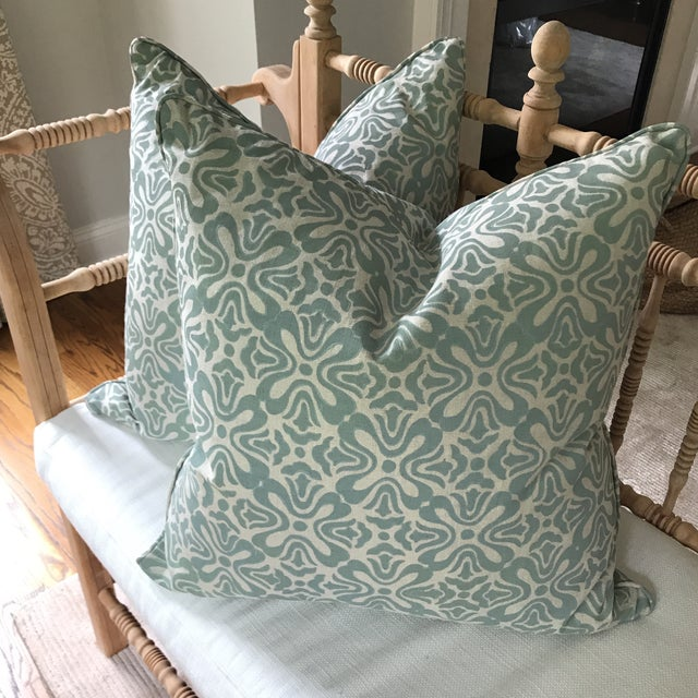 Newly fabricated and beautifully finished pair of linen pillows. A gorgeous and highly coveted textile by Galbraith & Paul...