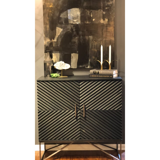 Black Geometric Wood Two Door Cabinet For Sale - Image 11 of 12