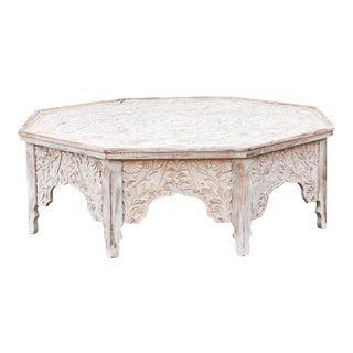 Grand White-Washed Moorish Carved Octagonal Coffee Table For Sale