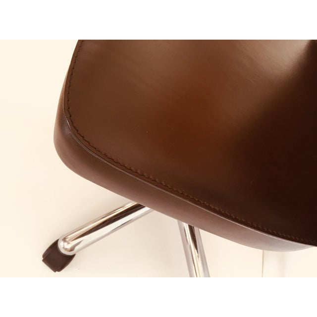 """Contemporary """"Luna"""" Brown Leather Office Chair by Martino Perego for Fasem For Sale - Image 3 of 13"""