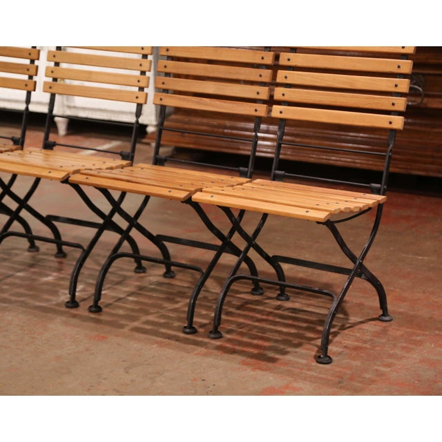 French Country Painted Wrought Iron and Teak Wood Folding Garden Chairs, Set of Four For Sale - Image 3 of 13