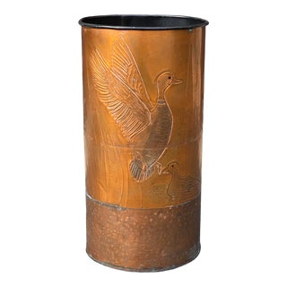 Vintage Hand Hammered Copper Ducks Wastebasket For Sale