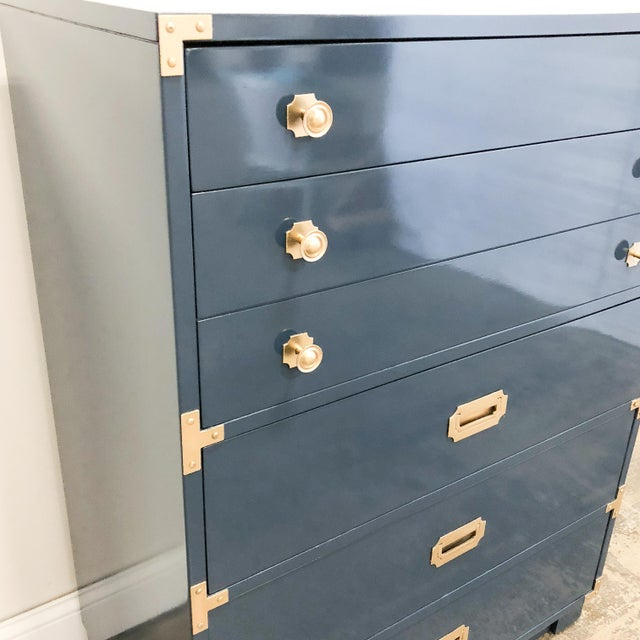 1960s Drexel Campaign Navy High Gloss Lacquer Oak Highboy Chest For Sale - Image 5 of 9