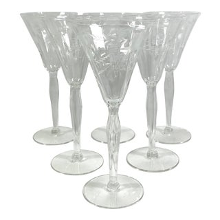 1960s Noritake Etched Sherry Glasses - Set of 6 For Sale
