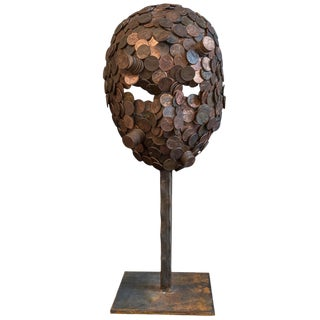 "Mosaic ""Pennyface"" Mask on Stand For Sale"