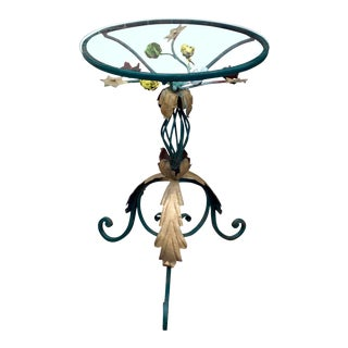 Vintage Italian Victorian Gilded Wrought Iron Floral Round Glass Top Side Table For Sale