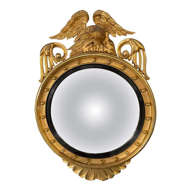 Federal Style Gilt Gold Convex Mirror, Wall, Console or Pier Mirror For Sale