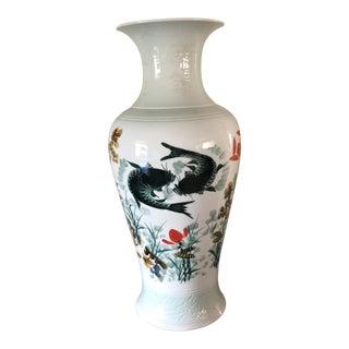1980s Vintage Asian Koi Fish Porcelain Floor Vase For Sale