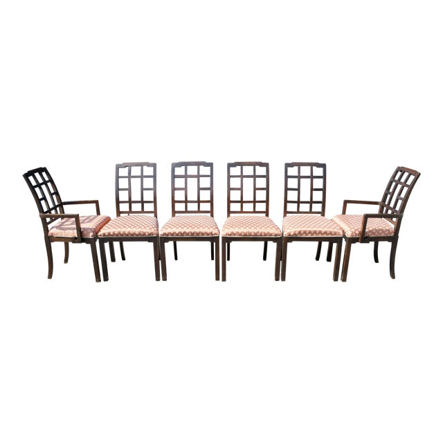 Thomasville Chinoiserie Greek Key Dining Chairs - Set of 6 - Image 1 of 11