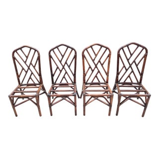 Vintage Bamboo Dark Stained Chinese Chippendale Palm Beach Regency Dining Chairs Set of 4 For Sale