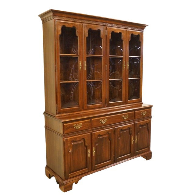 "20th Century Traditional Ethan Allen 62"" Buffet With Lighted Bubble Glass China Cabinet Hutch For Sale"