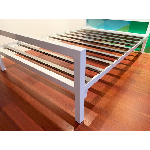 "White Parsons powder coated steel bed frame originally from Room & Board. Floor to bottom of mattress: 12.5""h. Underbed..."