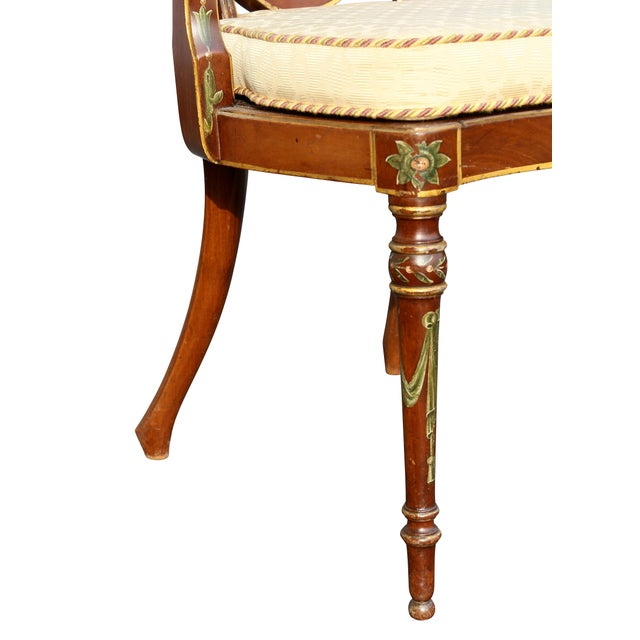 Wood Edwardian Satinwood and Painted Armchair For Sale - Image 7 of 11