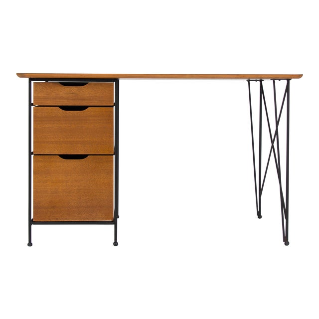 Modernist Desk in Mahogany and Enameled Steel by Vista of California - Image 1 of 9