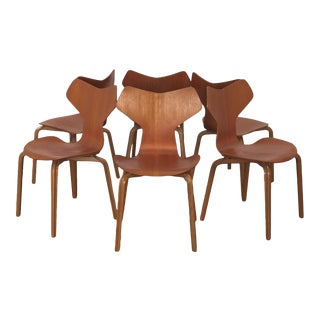 Arne Jacobsen Grand Prix Teak Dining Chairs - Set of 6 For Sale