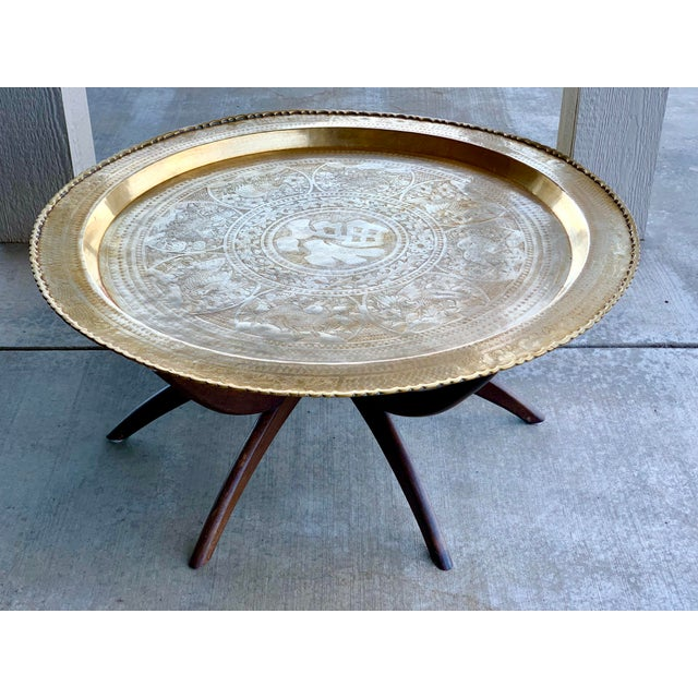 1950s Vintage Chinese Imports Polished Brass Spider Leg Tray Table For Sale - Image 4 of 11