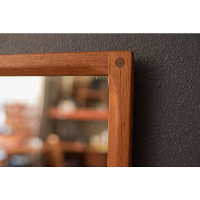1960s Vintage Danish Teak Hanging Wall Mirror by Aksel Kjersgaard For Sale - Image 5 of 9