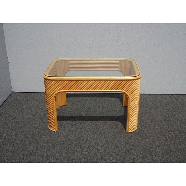 Vintage Mid Century Modern Split Bamboo Rattan Coffee End Table ~ Golden Girls Era Gorgeous Table in Great Vintage...