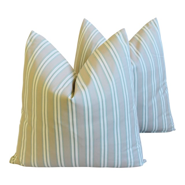 """French Striped Ticking Feather/Down Pillows 23"""" Square - Pair For Sale"""