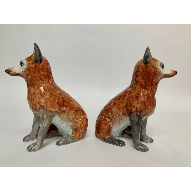 Italian Ceramic Fox Bookends – a Pair For Sale - Image 4 of 12