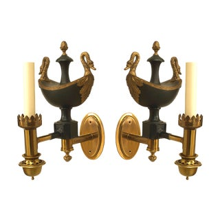 French Empire Brass and Tole Wall Sconces For Sale