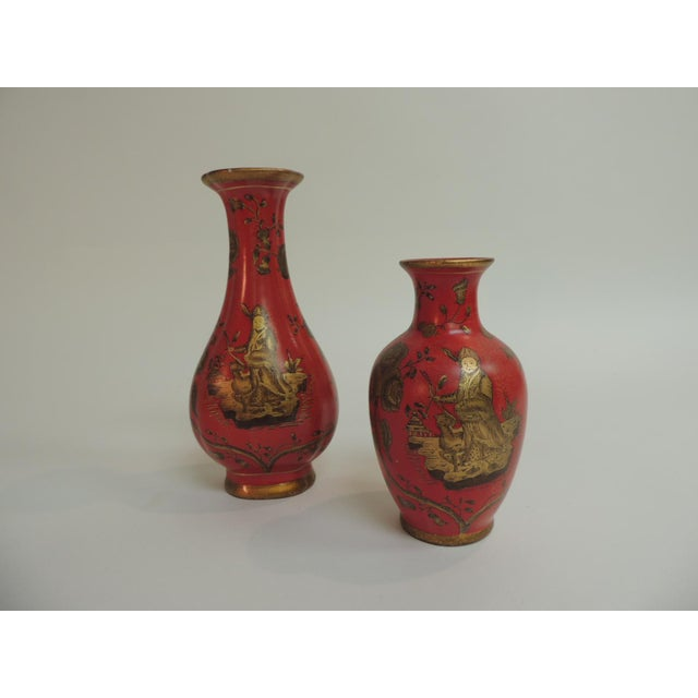 Decorative Coral & Gold Chinoiserie Vases - A Pair - Image 5 of 5