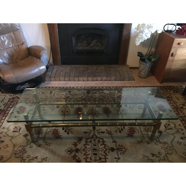 1970s Vintage Brass Faux Bamboo Chinese Chippendale Coffee Table For Sale - Image 6 of 7