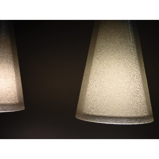 1950s 1950s Italian Double Cone Glass and Brass Pendants - a Pair For Sale - Image 5 of 10