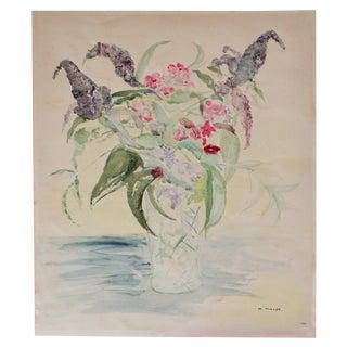 Original Vintage Watercolor Floral Still Life Painting For Sale