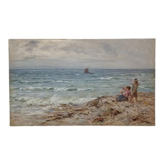 "19th Century Scottish ""Children by the Beach"" Oil Painting by John Henderson For Sale"