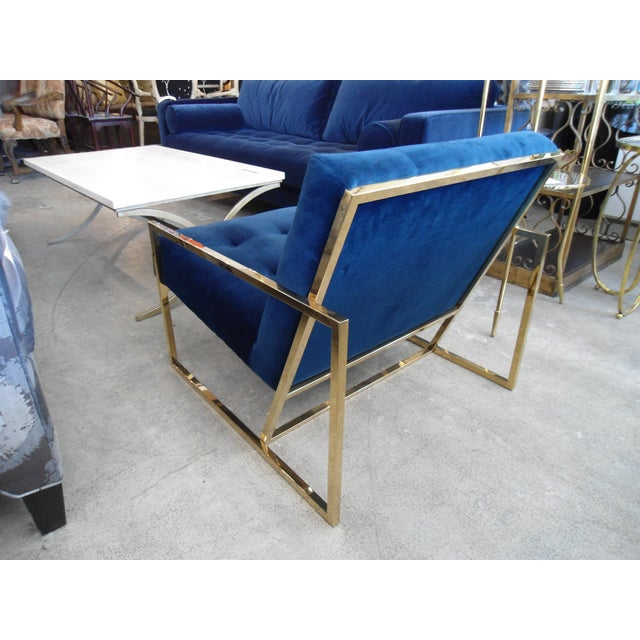 Jonathan Adler Jonathan Adler Goldfinger Blue Velvet & Brass Lounge Chair For Sale - Image 4 of 6