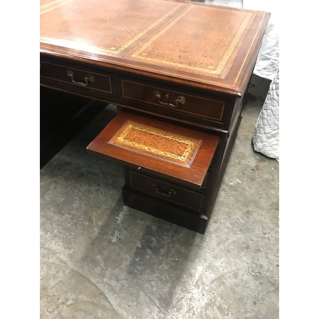 Brown English Custom Made Executive Desk For Sale - Image 8 of 10